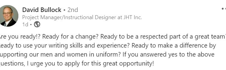 JHT is Hiring a Technical Writer